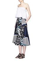 Scarf colourblock print culottes