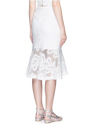 Back View - Click To Enlarge - Nicholas - Squiggle embroidery lace flute skirt