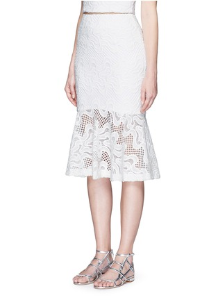 Front View - Click To Enlarge - Nicholas - Squiggle embroidery lace flute skirt