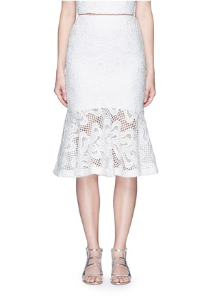 Main View - Click To Enlarge - Nicholas - Squiggle embroidery lace flute skirt