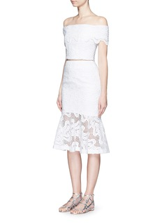 NICHOLASSquiggle embroidery lace flute skirt