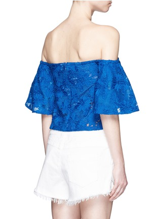 Back View - Click To Enlarge - Nicholas - Bell sleeve embroidery lace off-shoulder cropped top