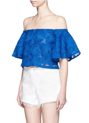 Front View - Click To Enlarge - Nicholas - Bell sleeve embroidery lace off-shoulder cropped top