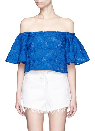 Main View - Click To Enlarge - Nicholas - Bell sleeve embroidery lace off-shoulder cropped top