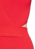 Crisscross wrap front cutout back knit midi dress