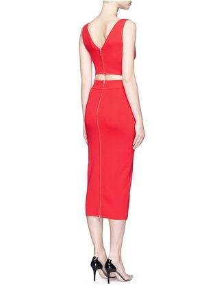 Back View - Click To Enlarge - Nicholas - Crisscross wrap front cutout back knit midi dress