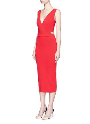 Figure View - Click To Enlarge - Nicholas - Crisscross wrap front cutout back knit midi dress