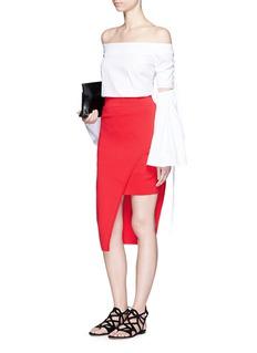 NICHOLASAsymmetric double-layer knit pencil skirt