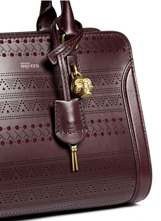 Detail View - Click To Enlarge - Alexander McQueen - 'Padlock' small tribal perforated leather tote