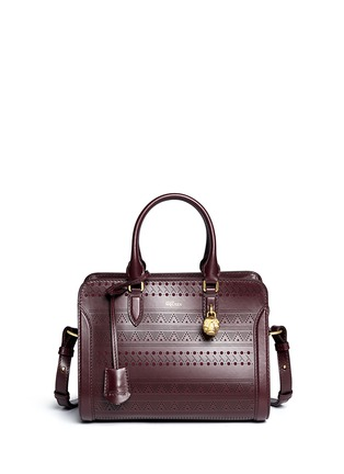 Main View - Click To Enlarge - Alexander McQueen - 'Padlock' small tribal perforated leather tote