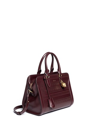 Figure View - Click To Enlarge - Alexander McQueen - 'Padlock' small tribal perforated leather tote