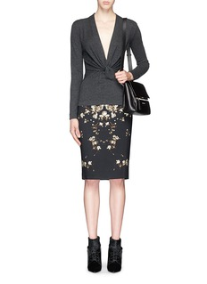 GIVENCHYBaby's breath floral print pencil skirt
