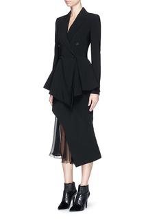 GIVENCHYSilk chiffon underlay asymmetric hem cady skirt