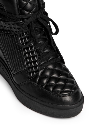 Detail View - Click To Enlarge - Ash - 'Azimut' textured leather high top wedge sneakers