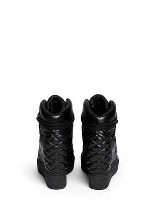 Back View - Click To Enlarge - Ash - 'Azimut' textured leather high top wedge sneakers