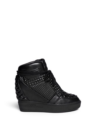 Main View - Click To Enlarge - Ash - 'Azimut' textured leather high top wedge sneakers