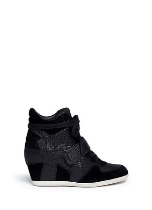 Main View - Click To Enlarge - Ash - 'Bowie' suede leather high top wedge sneakers