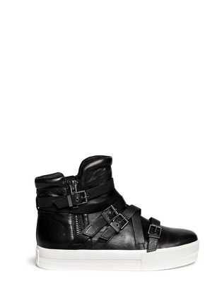 Main View - Click To Enlarge - Ash - 'Jet' cross strap leather platform sneakers