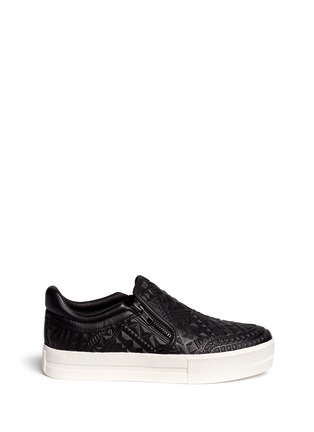 Main View - Click To Enlarge - Ash - 'Jig' embossed leather platform skate slip-ons