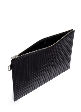 Detail View - Click To Enlarge - Balenciaga - 'Clip' medium grid textured leather pouch