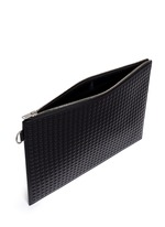'Clip' medium grid textured leather pouch