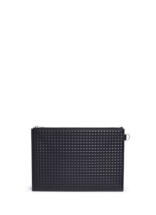 Back View - Click To Enlarge - Balenciaga - 'Clip' medium grid textured leather pouch