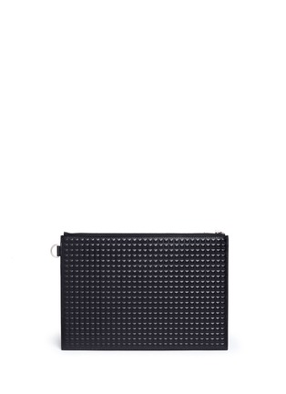 Main View - Click To Enlarge - Balenciaga - 'Clip' medium grid textured leather pouch