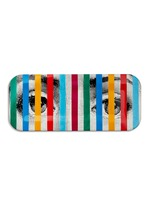Face and Stripes print wood tray