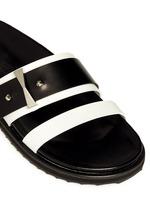 Metal bridge colourblock leather sandals