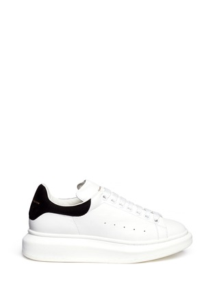 Main View - Click To Enlarge - Alexander McQueen - Chunky outsole suede trim leather sneakers