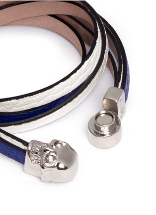 细节 - 点击放大 - ALEXANDER MCQUEEN - Skull double wrap leather bracelet