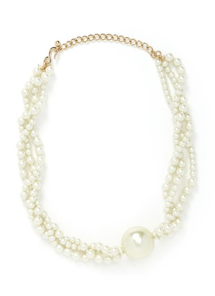 Main View - Click To Enlarge - Kenneth Jay Lane - Glass pearl pendant multi tier necklace