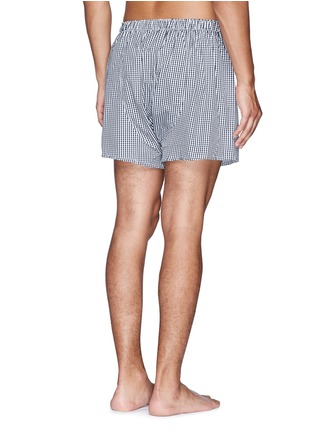 Back View - Click To Enlarge - Sunspel - Mini gingham check boxer shorts