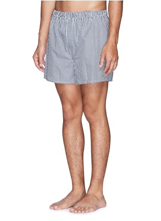 Figure View - Click To Enlarge - Sunspel - Mini gingham check boxer shorts