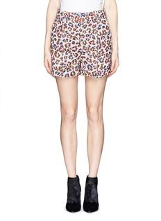 CHLOÉLeopard jacquard silk-blend pleat shorts