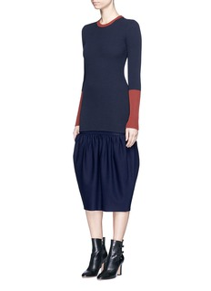 Victoria Beckham Gathered bubble hem midi skirt