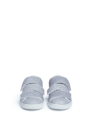 Front View - Click To Enlarge - Acne Studios - 'Triple Felt' crisscross strap sneakers