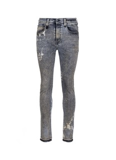 R13 'Skate' bleach stain frayed jeans