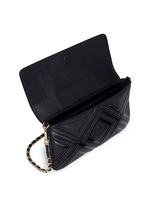 'Fleming' quilted geo leather clutch