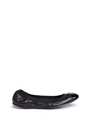 Main View - Click To Enlarge - Tory Burch - 'Jolie' patent toe cap leather ballerina flats