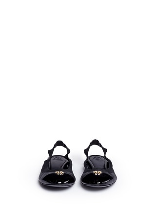Front View - Click To Enlarge - Tory Burch - 'Jolie' patent toe cap slingback ballerina flats