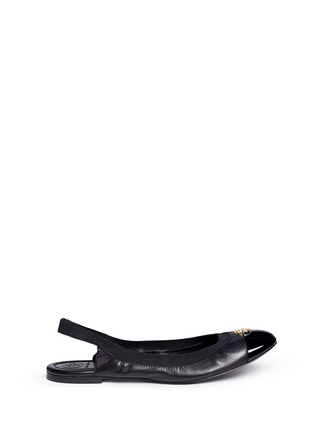 Main View - Click To Enlarge - Tory Burch - 'Jolie' patent toe cap slingback ballerina flats