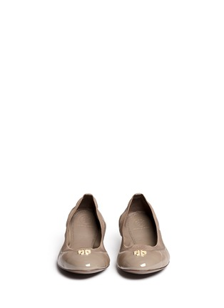 Front View - Click To Enlarge - Tory Burch - 'Jolie' patent toe cap leather ballerina flats