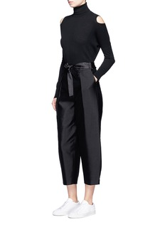 Elizabeth and James'Anderson' belted silk-wool cropped pants