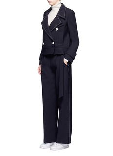 Comme Moi Belted wool blend wide leg pants