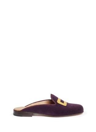 Stubbs & Wootton - Rope buckle embroidery velvet slippers