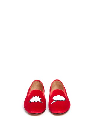 Front View - Click To Enlarge - Stubbs & Wootton - 'Comic Convo' embroidery velvet slip-ons