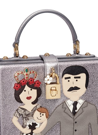 Detail View - Click To Enlarge - Dolce & Gabbana - 'Dolce Box' DG Family appliqué metallic leather bag