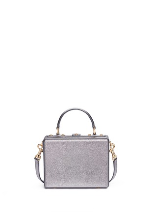 Back View - Click To Enlarge - Dolce & Gabbana - 'Dolce Box' DG Family appliqué metallic leather bag