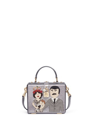 Main View - Click To Enlarge - Dolce & Gabbana - 'Dolce Box' DG Family appliqué metallic leather bag